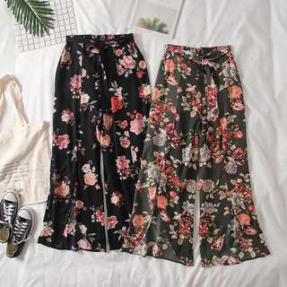 [PO] h&m inspired wide slit open floral pants