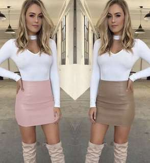 Bandage Leather High Waist Pencil Skirt