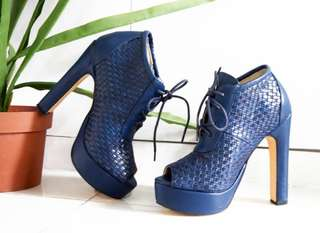 Peep Toe Blue High Heel Platform
