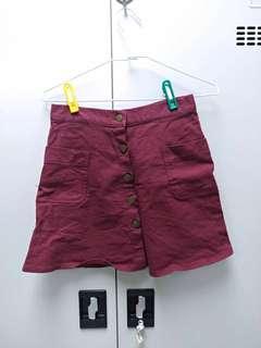酒紅色丹寧排扣短裙