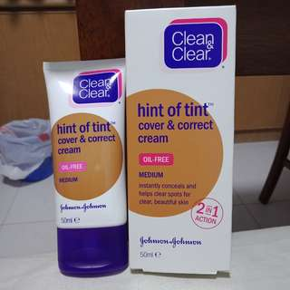 Clean & Clear hint of tint - cover & correct cream