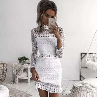 Strappy Bodycon Lace Midi Dress