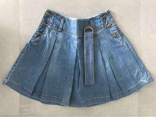 EUR 38/USA 6 MNG Mango Denim Pleated Skirt