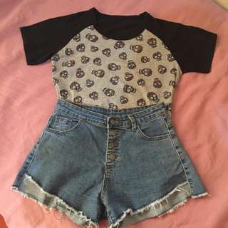 chic skull top | shorts - can be sold separately