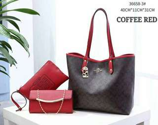 Coach Tote Bag 3 in 1 Coffee Red Color