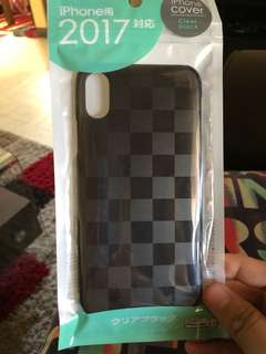 iPhone X hard casing clear black(checkered)