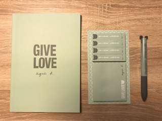 Agnes B Give Love Stationery set