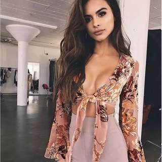 Floral Tie Up Long Sleeve Flare Wrap Crop