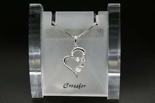 Crossfor New York Dancing Stone D-3stone Heart NYP-585 Silver Necklace