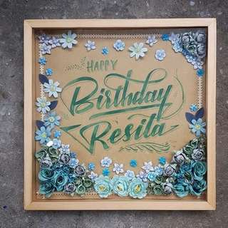 Rustic greeting on frame. Special design and hand leterring Ukuran 40x40cm,.
