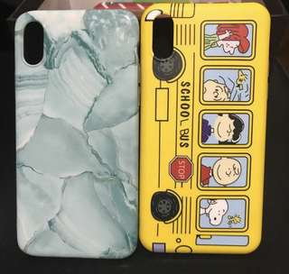 Teal Marble and Schoolbus iPhone x case
