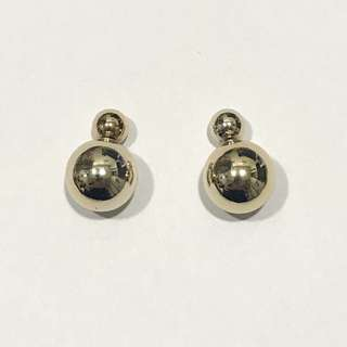 Simple Dual Side Golden Sphere Earrings