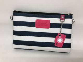 Navy & White Striped Faux Leather Pouch w Pink Camera Charm