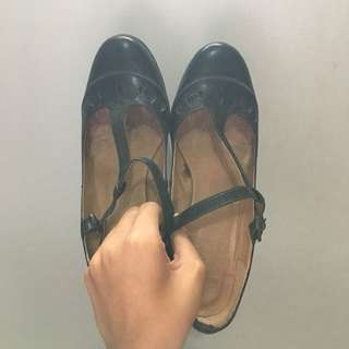 Black Hitam Mary Jane Heels Sepatu Kerja Real Leather