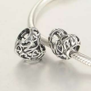 Code SS57 - Love Mom Openwork For Mother 100% 925 Sterling Silver Charm, Chain Is Not Included, Compatible With Pandora