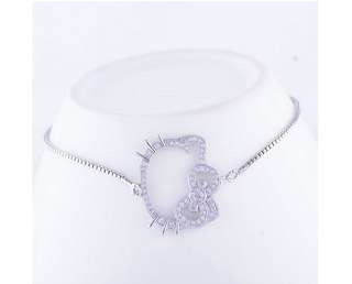 BRAND NEW Elegant Faux Silver Zirconia Crystal Hello Kitty Charm / Pendant Drawstring Bracelet