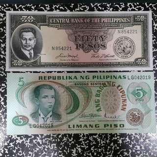 50 Pesos English Series Banknote & 5 Pesos Bagong Lipunan Banknote
