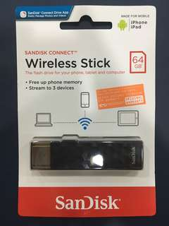 Sandisk Connect Wireless Stick 64GB Flash Storage for Phone, Tablet & computer