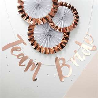 Preorder Rose Gold 'Team Bride' Banner