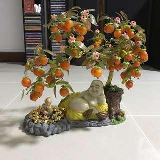 Monk under a peach tree decoration