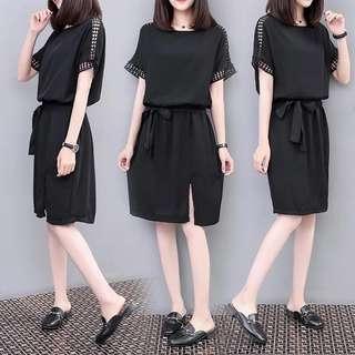 (S-4XL)2018 loose large size hollow short-sleeved long T-shirt female chiffon black split dress