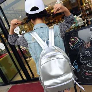 RS Silver PU Leather Ulzzang Backpack