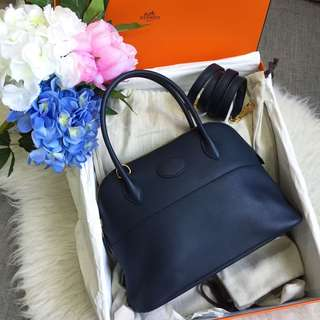 💙Good Price!💙 Hermes Bolide 27 in Bleu Indigo Swift Leather and GHW