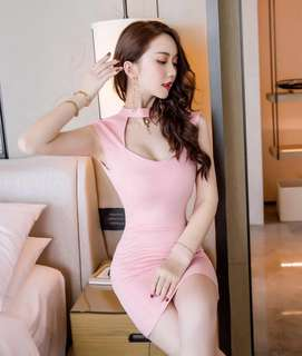 Instock!! Price Greatly Reduced!! Clearance!! Usual Price At $36!! Brand New In Plastic Unworn And Unused Super Hot And Sexy Korean Style High Neck V Cut Front/V Cut Neckline/V Neck Open Back Bodycon/Body Hugging Sweet/Baby Pink Party Dress