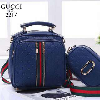FREE ONGKIR!! Set 2 in 1 GUCCI Ayura ting ting Clemence Leather Hardware Gold 2217*