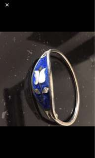 Sterling silver bangle Mexico blue inlay