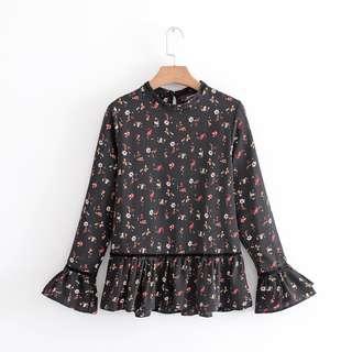 Long Sleeve Dressy Peplum Floral Black Top