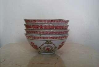 萬壽無疆陶瓷飯碗四隻