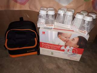 Electric Double Breast Pump, Milk Storage Bottles and Insulated Milk Storage Bag