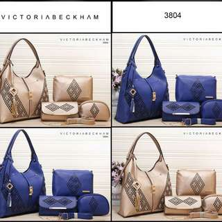 PROMO FREE ONGKIR!! Set 4 in 1 VICTORIA BECKHAM Holly Studed Clemence leather 3804*
