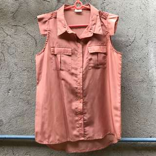 Oxygen Rose Gold Sleeveless Button Down