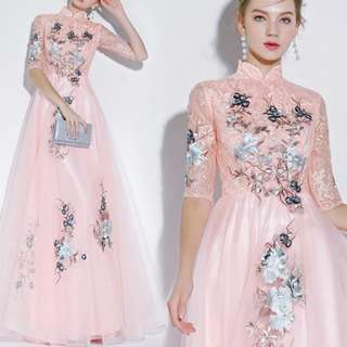 Elegant pink embroidery qipao cheongsam dress / evening gown