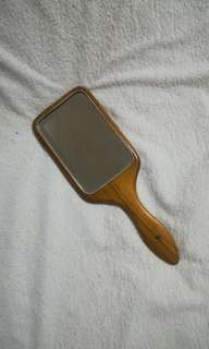 Vintage Handheld Mirror with Wooden Frame
