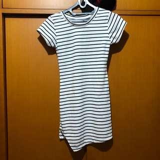 dress pendek kaos stripe