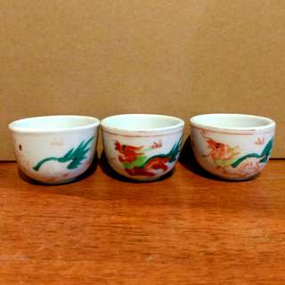 3X Chinese Dragon Tea Cups