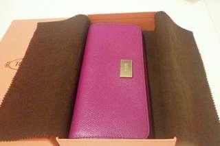 全新TOD'S 紫色長款銀包 錢包 foglio grande plaque wallet
