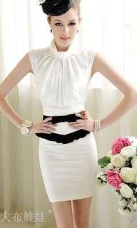 Bodycon Black white ribbon pencil skirt