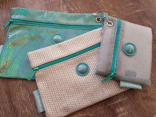 Mimco New Seafoam Cosmetic Zip Pouches set of 3