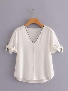 🔥Europe 2018 Loose Short Sleeve Hit Color Trim V Collar Shirt