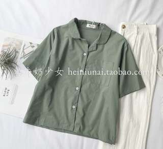 Korean style collar blouse in green