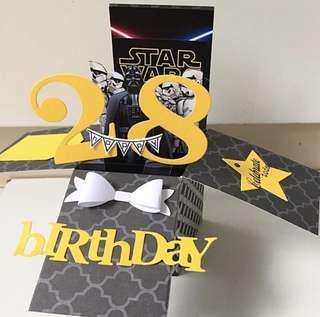 Happy 28 Birthday Handmade Pop Up Card starwar theme