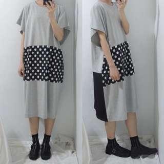 [出清特價]。error dot。黑灰白拼接圓點設計寬版洋裝
