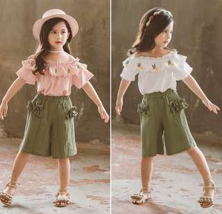 Girls suit air cotton and linen short-sleeved two-piece