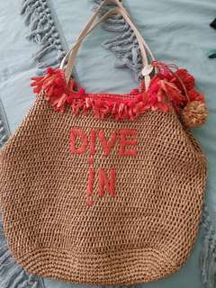 Mimco Dive In Rattan Beach Bag New