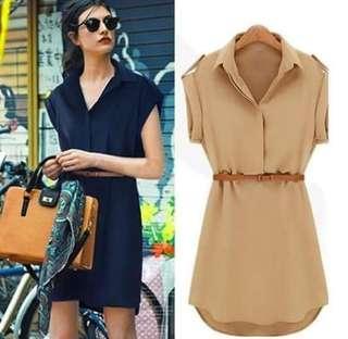 [Pre-Order] 🔥 Korean  dress with belt👗