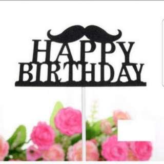 (3 for $7) Happy Birthday Mustache Cake Topper